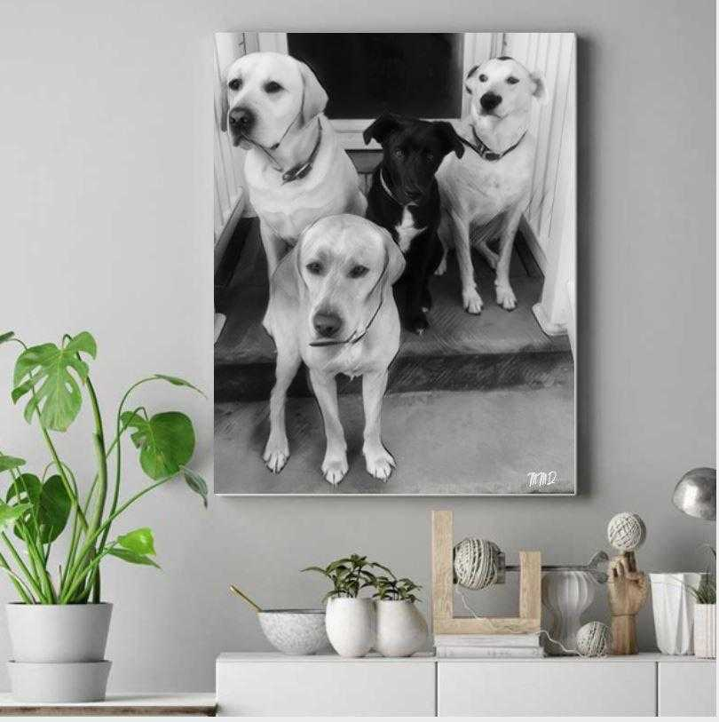 Custom Dog portrait personalized wall art wall art decor