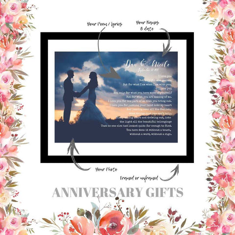 Anniversary gift personalized with your wedding photograph, Vows, first dance song lyric or favorite quote
