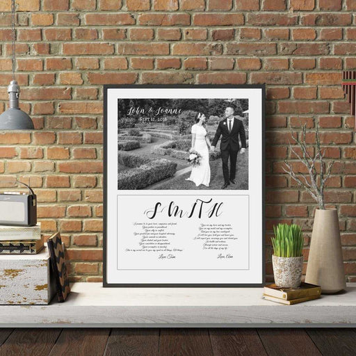 Custom Anniversary Song lyrics wall art print framed