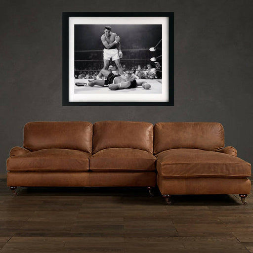 Muhammad Ali vs Sonny Liston Black and White Art print poster , Framed art canvas art