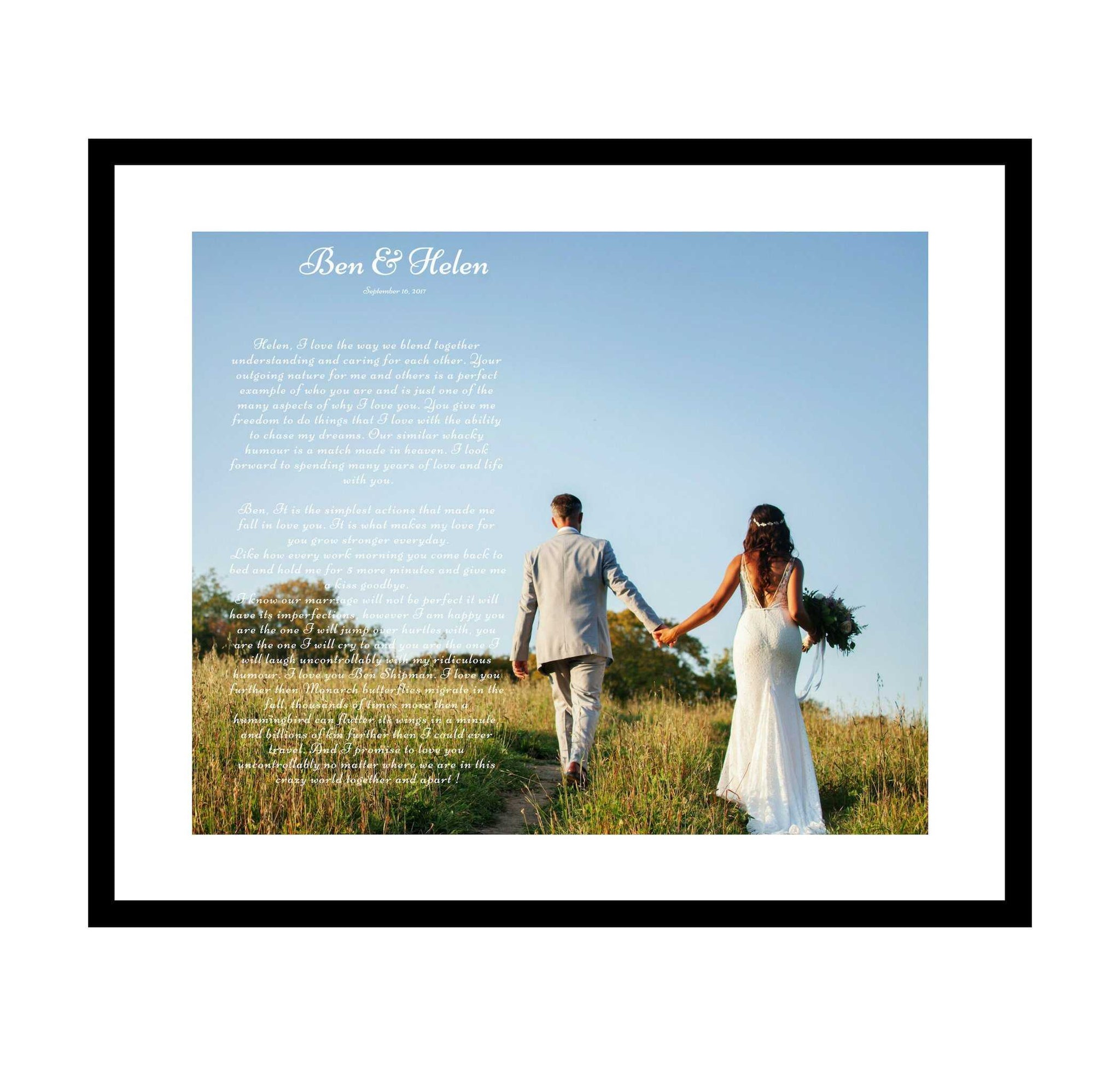 Personalized anniversary gift created with wedding first dance song lyric or vows wall art