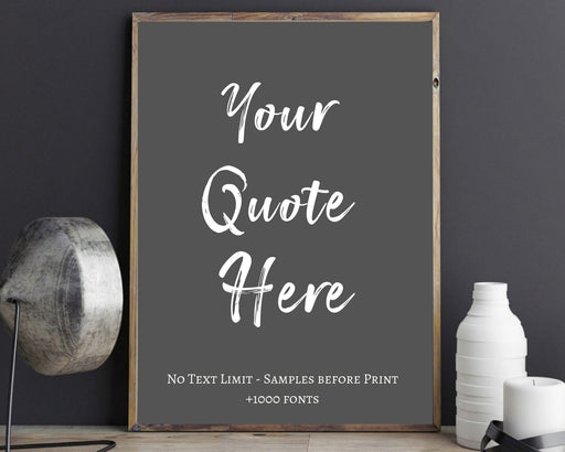 Custom quote print typography framed wall art