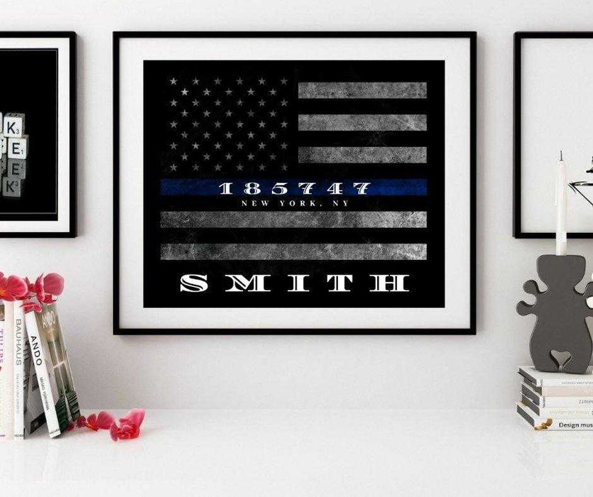 Custom Thin Blue Line flag framed wall art Police officer gift,