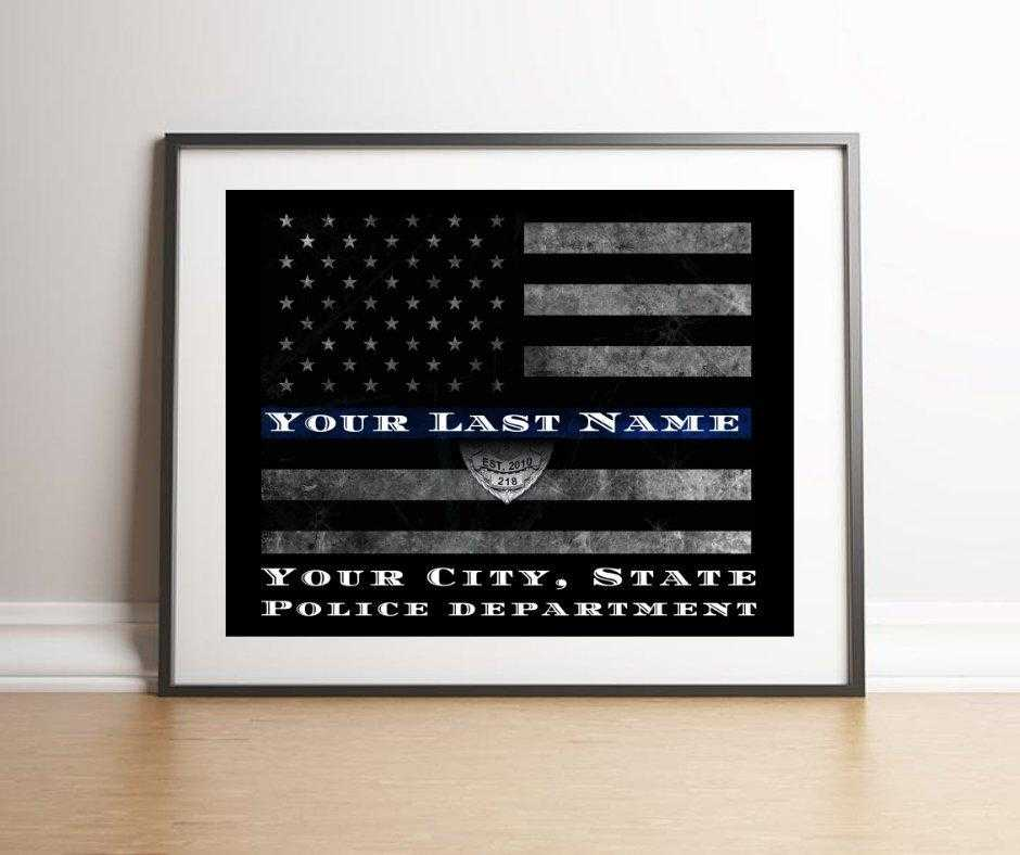 Thin Blue Line Flag Personalized Police Officer Gift