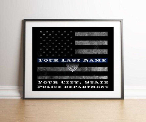 Custom personalized Police gift of Thin Blue Line flag framed, Law Enforcement Personalized Thin Blue Line Flag wall art