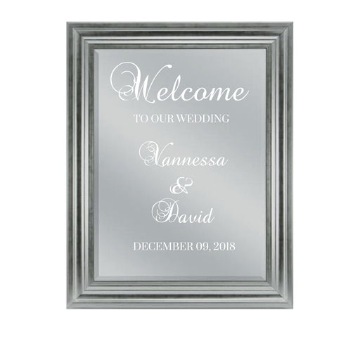 Silver Wedding Welcome sign mirror 20x28 inch