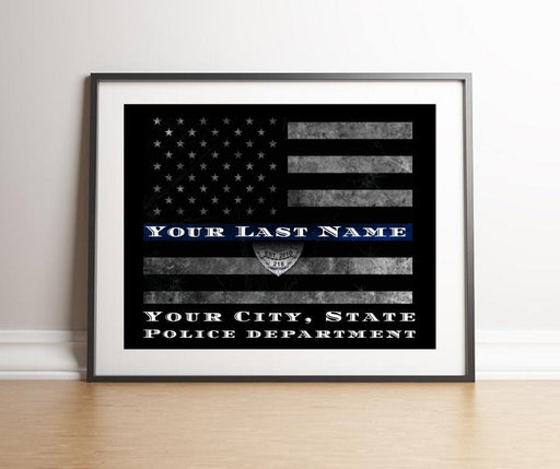 Police officer gifts, Thin Blue Line Flag, police academy graduation gifts, thin blue line, PERSONALIZED THIN BLUE line flag, personalized