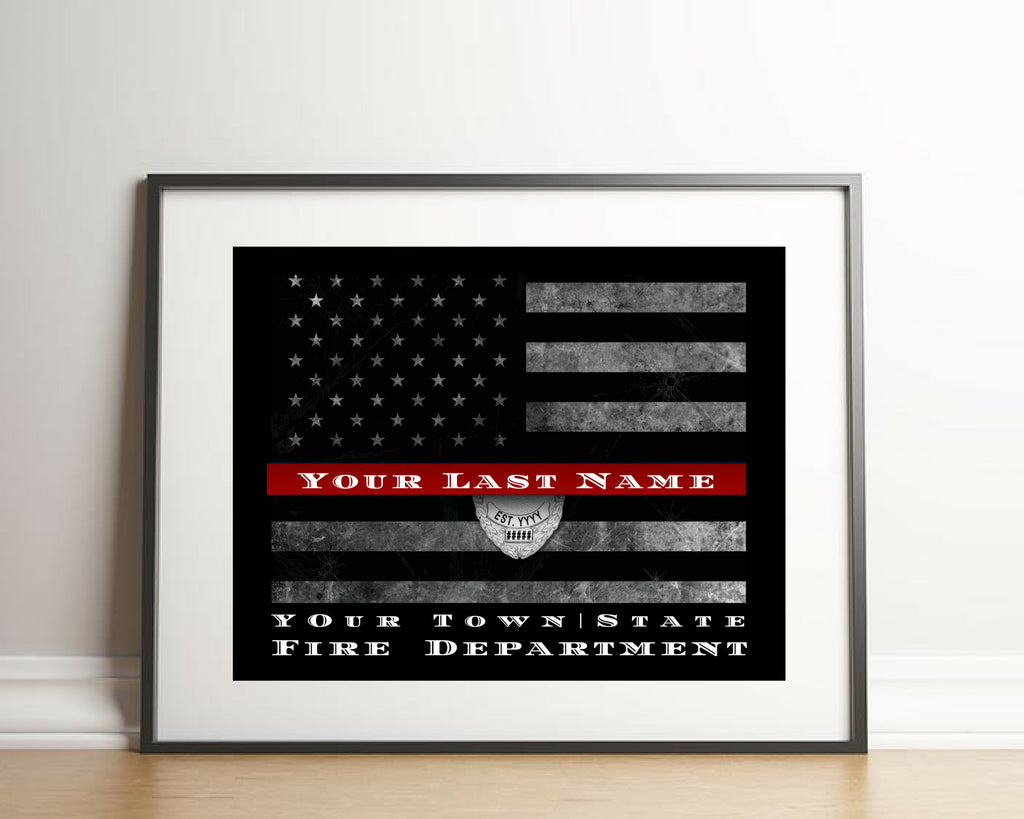 Personalized Firefighter Thin red Line flag framed or art print only