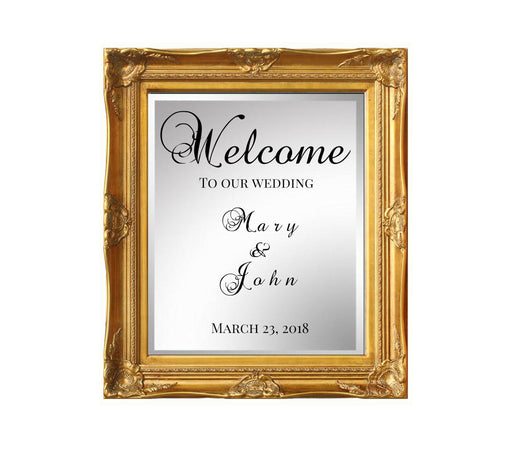 Gold Ornate Frame Wedding Welcome Mirror sign 20x30