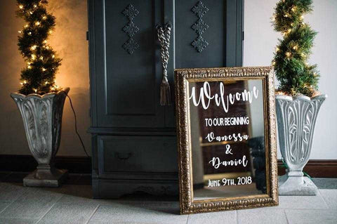Wedding Welcome Mirror Sign Custom Personalized with Names and Date