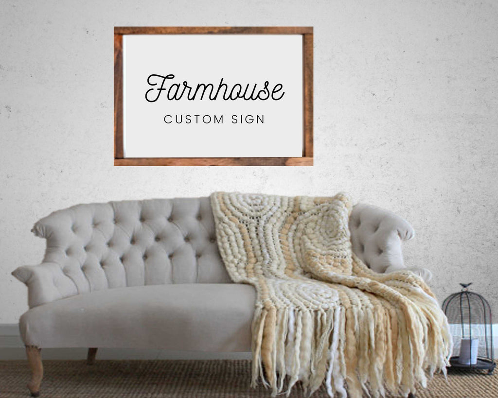 Custom farmhouse wall decor with any text for rustic decor
