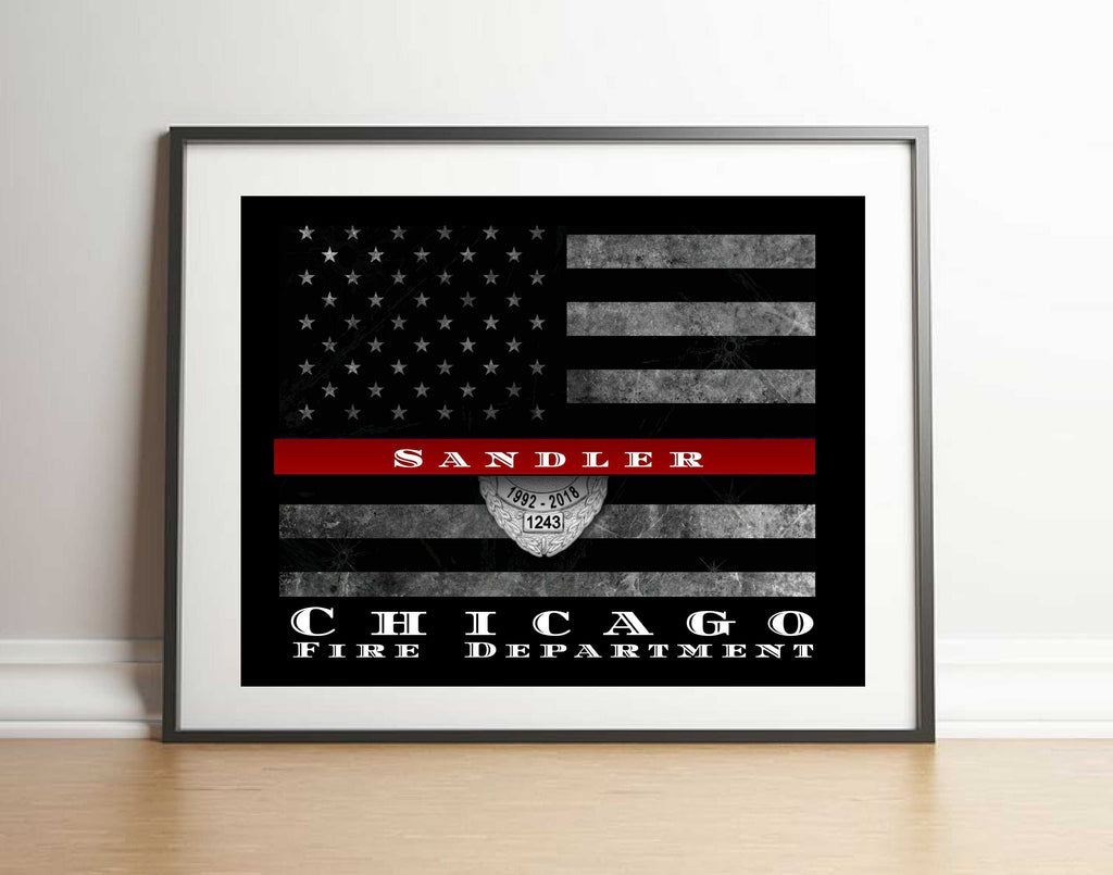 Personalized Thin red line flag art print in custom picture frame for firefighter gift, custom designed firefighter gift