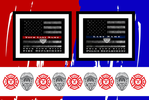 Customized thin red line flag for firefighter gift framed wall art print