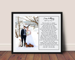 1st Anniversary Gift First Dance Song with photo Wedding vows wall art Wedding Gift Song Lyrics One Year Anniversary Gift Gift for Her