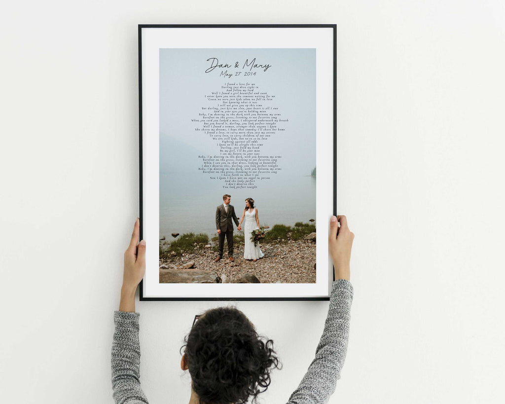 Wedding Anniversary gift personalized with photograph and first dance song lyrics or wedding vows framed artwork