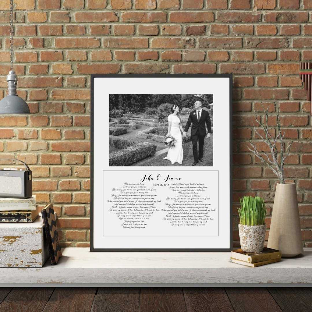 Anniversary Anniversary gift personalized wedding first dance song lyrics with wedding photograph