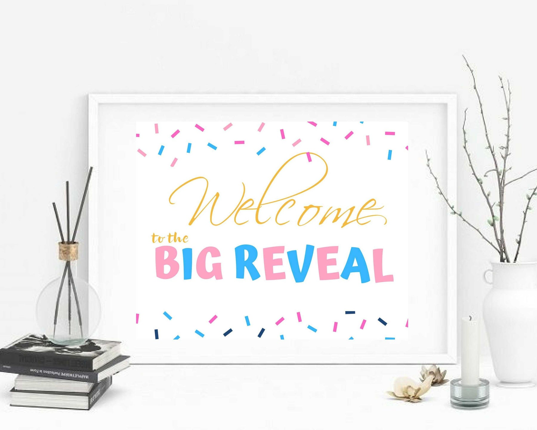 Gender Reveal Decorations welcome to the Big Reveal Sign personalized wall art decor