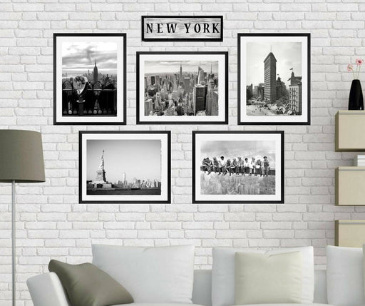 New york wall art, Framed Black and white New York City landscape Wall art prints Framed Brooklyn Bridge, Lunchtime Atop a Skyscraper, I