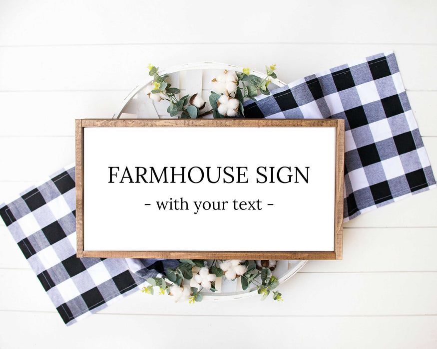 Personalized farmhouse wood signs with custom personalized text rustic wall art decor