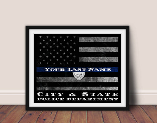 Retirement Police officer gift, Customized Thin Blue line Flag, Police officer gift,