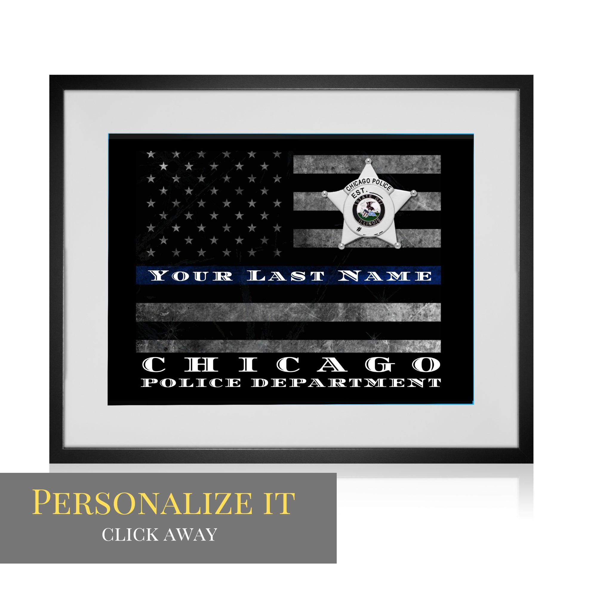 Chicago Police Department Customized Thin Blue Line Flag Chicago Police officer wall art