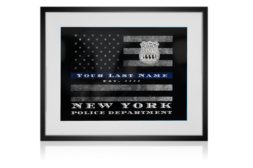 Artwork NYPD Thin Blue Line Flag Customized Personalized Police officer wall art