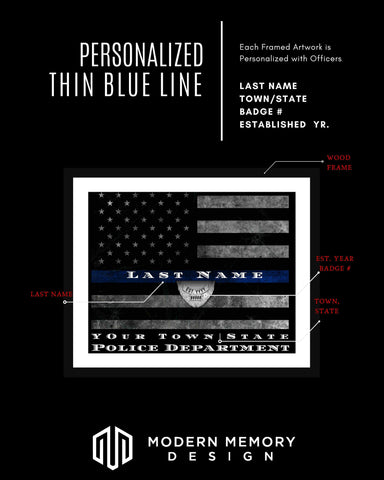 Thin Gray Line Flag framed Correction Officer Customized Thin Gray Line Flag wall art