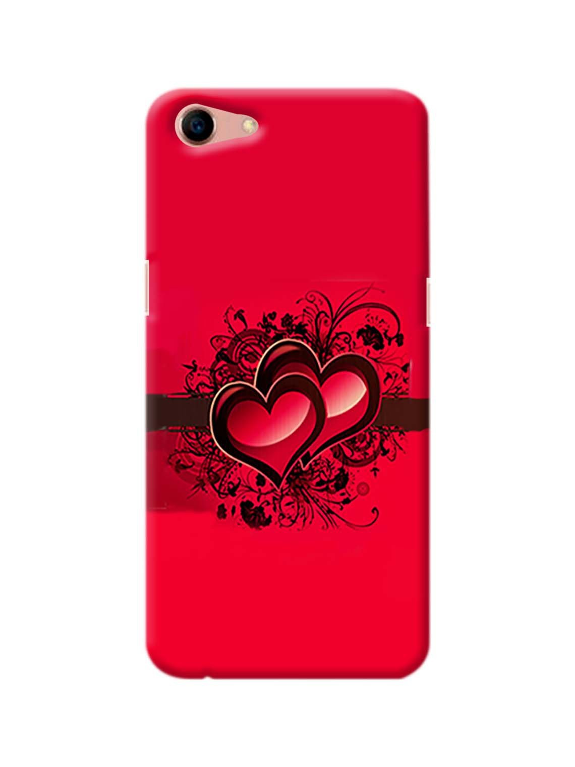 Red Heart Printed Mobile Case For Oppo A83