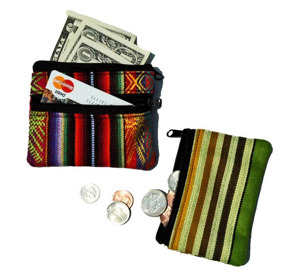 Double Zip Fabric Coin Purse