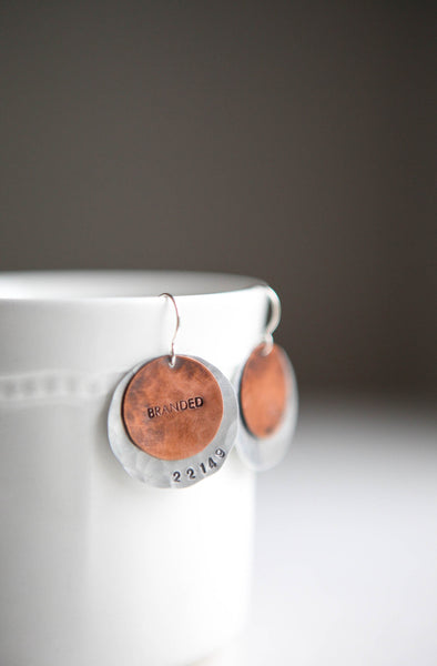 Textured Mixed Metal Disc Earrings