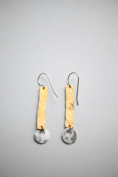 Textured Mixed Metal Bar Earrings