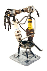 Recycled Spark Plug Smooching Lovers Sculpture