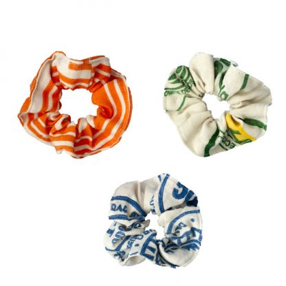 Recycled Flour Sack Scrunchie