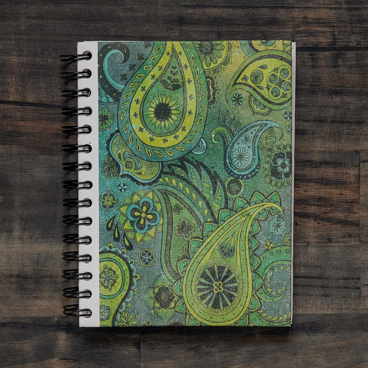 Large Notebook Paisley Green