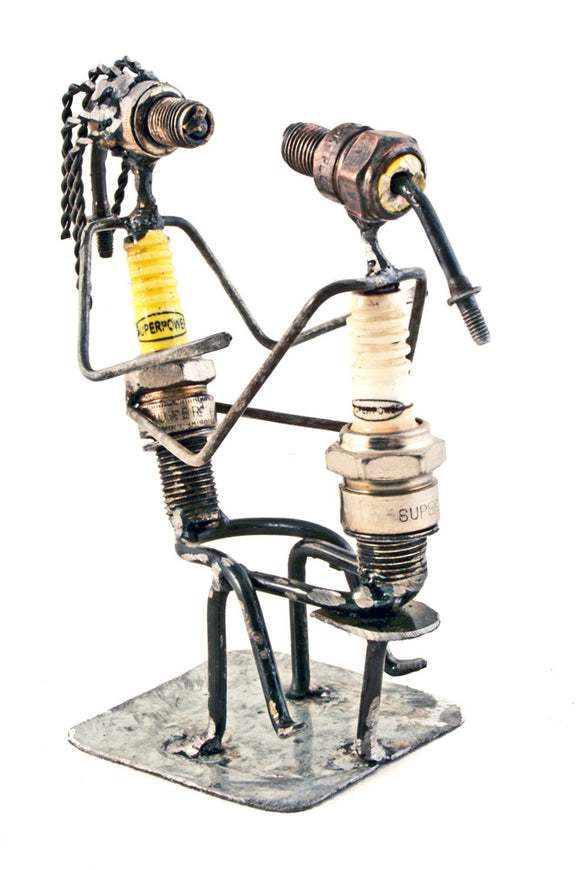Recycled Spark Plug Snuggling Lovers Sculpture