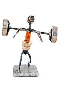 Recycled Spark Plug Weight Lifter Athlete Sculpture