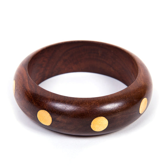 Wood Bangle - Gold Dots