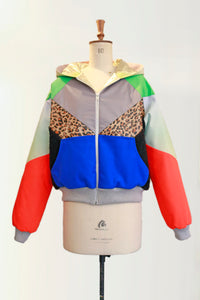PATCHWORK HOODED QUILTED BOMBER JACKET