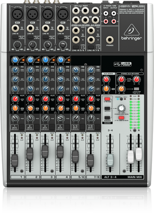 BEHRINGER XENYX 1204USB Premium 12-Input 2/2-Bus Mixer with XENYX Mic Preamps & Compressors, British EQs and USB/Audio Interfac