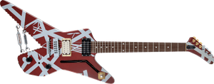 EVH Striped Series Shark, Pau Ferro Fingerboard in Burgundy with Silver Stripes