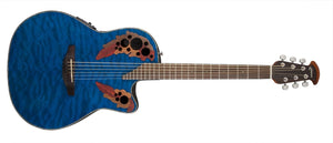 Ovation Celebrity Elite Plus Mid-Depth Cutaway, Trans Blue Quilt Maple CE44P-8TQ