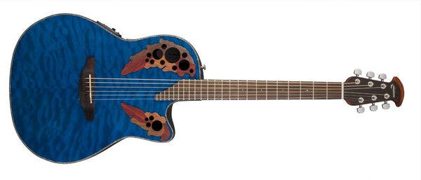 Ovation Celebrity Elite Plus Mid-Depth Cutaway, Trans Blue Quilt Maple CE44P-8TQ - The Guitar World