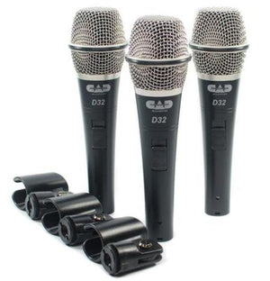 CAD 3 Pack of D32 Supercardioid Dynamic Vocal Microphone with on/off Switch D32X3