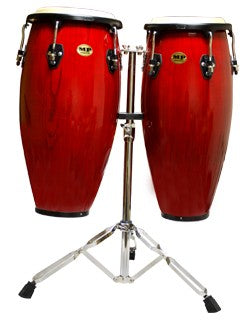 Mano Percussion Red Wine Double Conga Set 10 & 11 inch with Stand MP1601-RW - The Guitar World