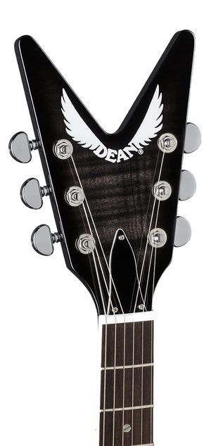 DEAN V 79 Flame Top in Trans Black