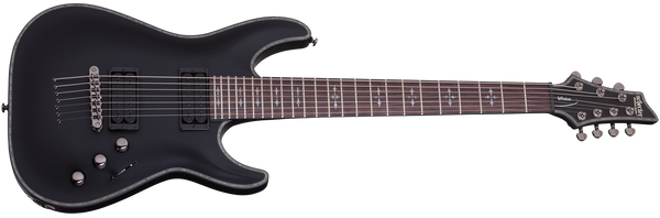 Schecter Hellraiser C-7 7 String Passive in Satin Black SBK SKU 1942