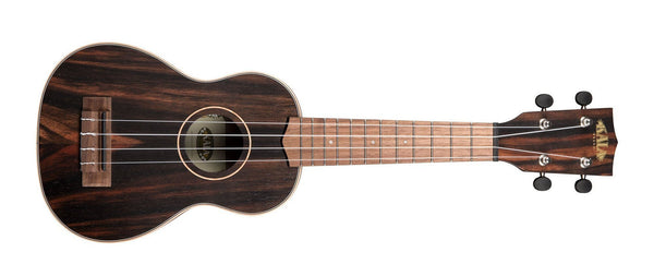 KALA Striped Ebony Soprano Ukulele KA-EBY-S - The Guitar World