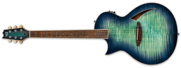 ESP LTD Tl-6 Thinline Left-Handed Acoustic Electric, Aquamarine Burst LTL6FMAQMBLH - The Guitar World
