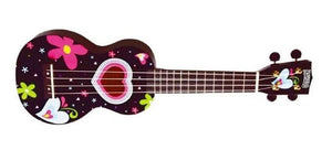 Mahalo Ukuleles Art Series Hearts And Flowers Soprano Ukulele With Bag MA1HE-BK