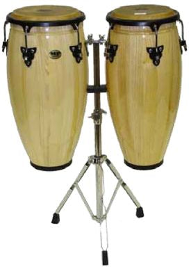 Mano Percussion Natural Double Conga Set 10 & 11 inch with Stand MP1601-NA